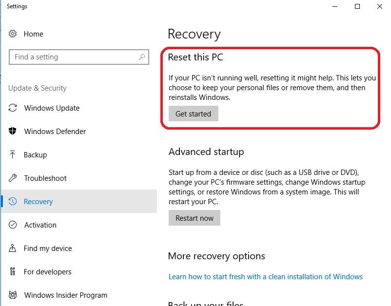 reset pc under recovery