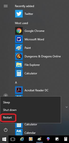 restart in start menu
