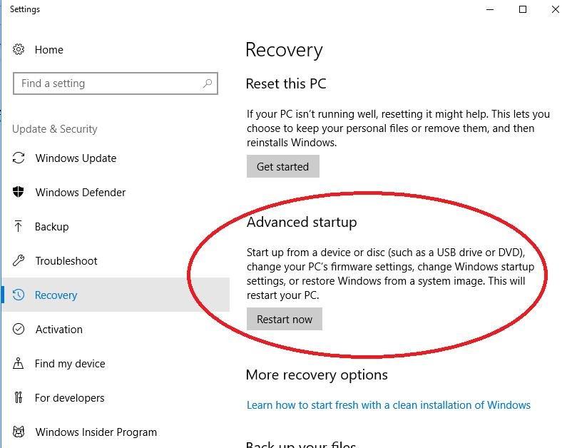restart now button in advanced startup