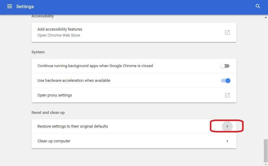 restore settings on original default