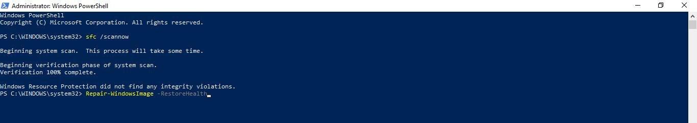 type Repair-WindowsImage -RestoreHealth