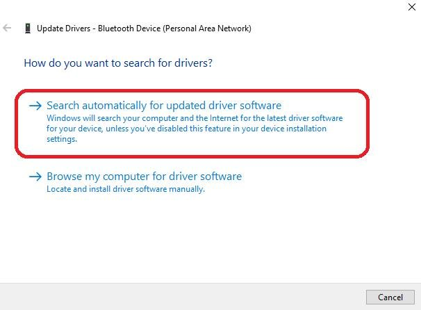 search automatically for updated drivers software