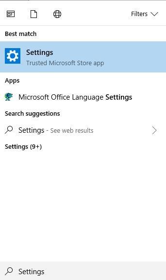 settings on start menu