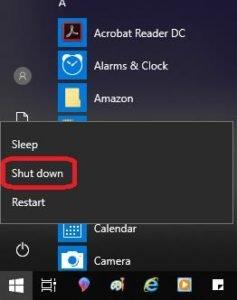 shutdown the computer