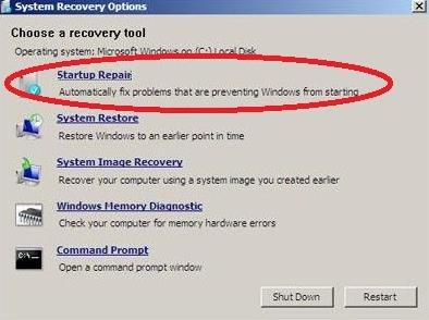 select startup repair