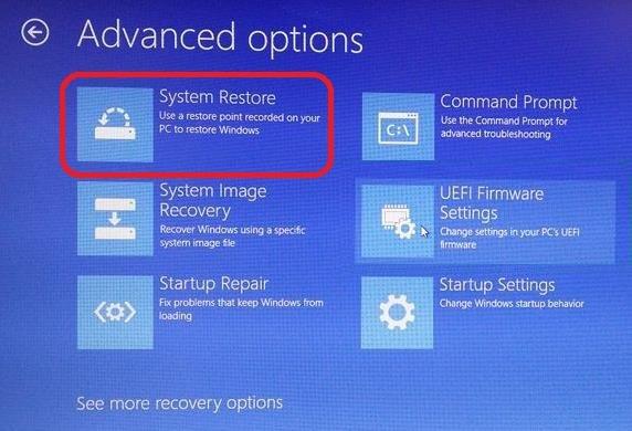 system restore under advanced options