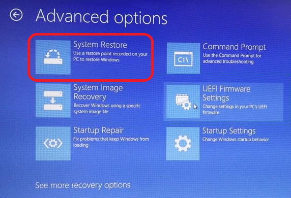 system restore under advanced options