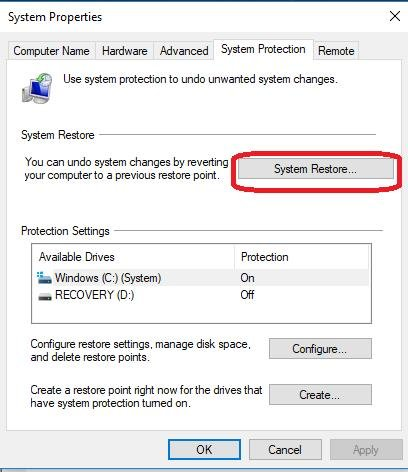 system restore under system protection