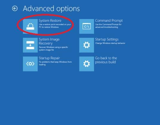 system restore in advanced options