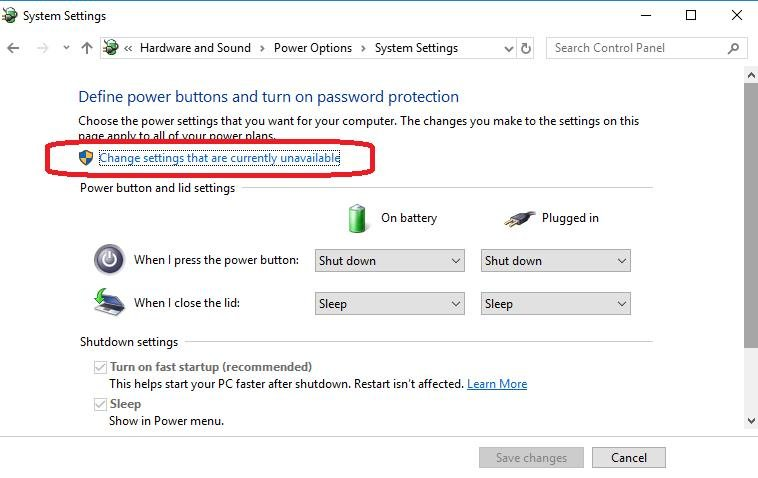 click change settings that are currently unavailable