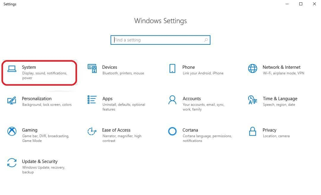 system on settings window
