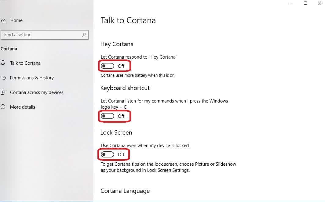talk to cortana settings are off