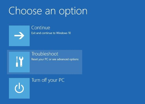 troubleshoot on choose an option