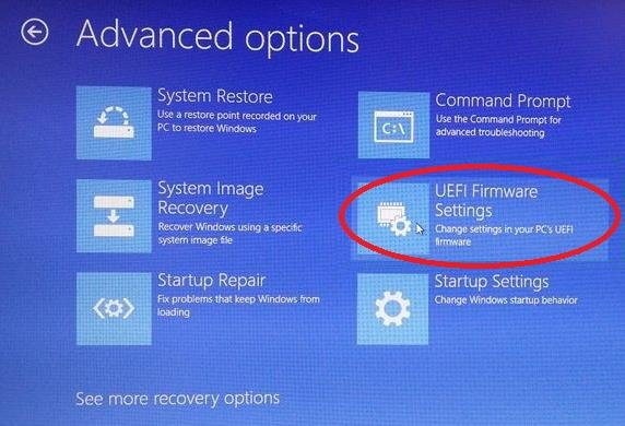 uefi firmware settings in advanced options