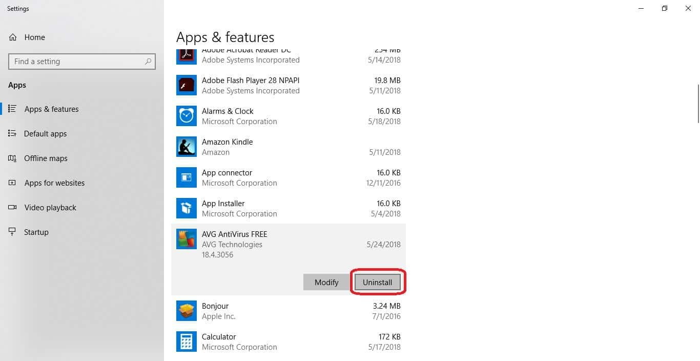 uninstall antivirus in apps and features