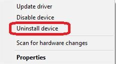 click uninstall device