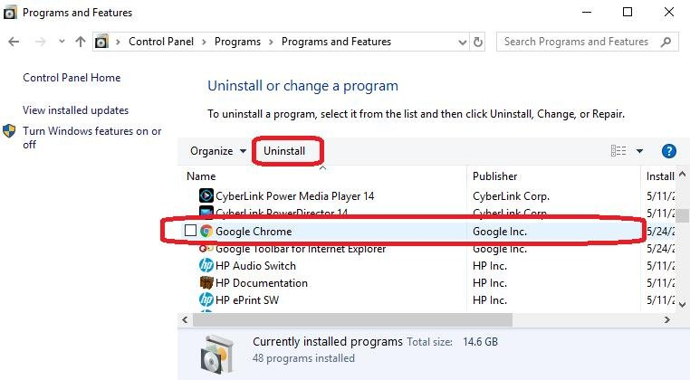 uninstall google chrome
