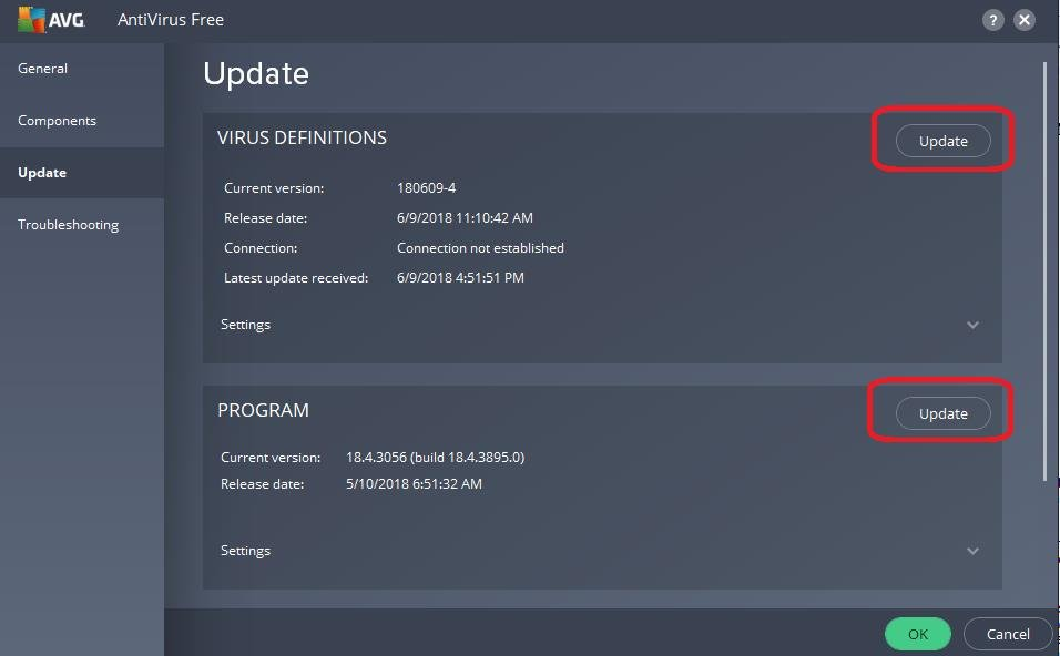 update button on antivirus program