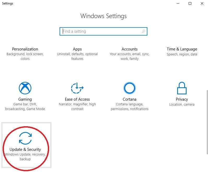 updates and security icon in windows settings
