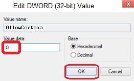 set value data is 0