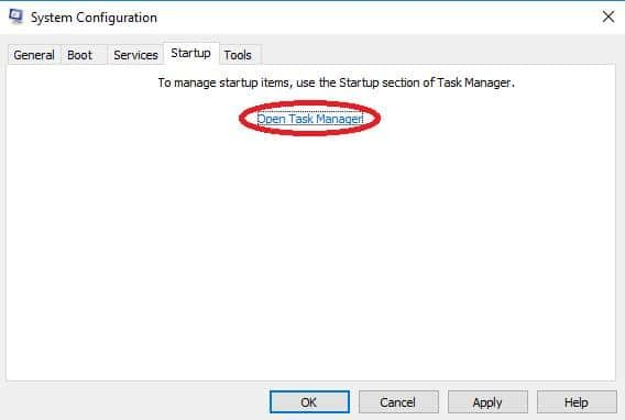open task manager on system configuration