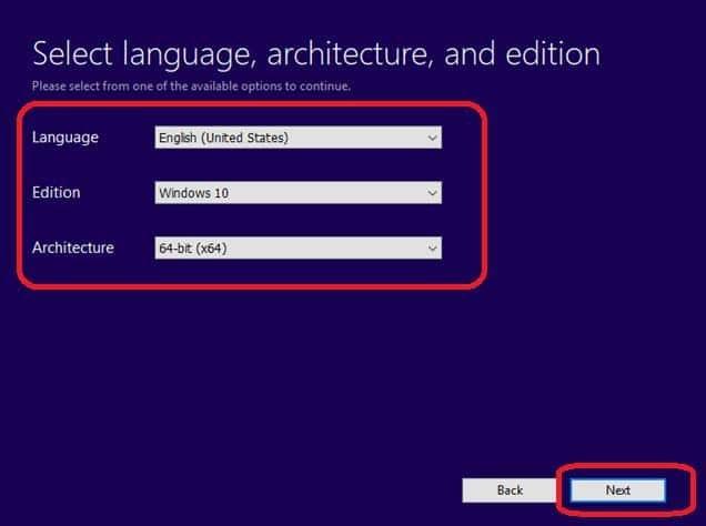 select language, edition, architecture