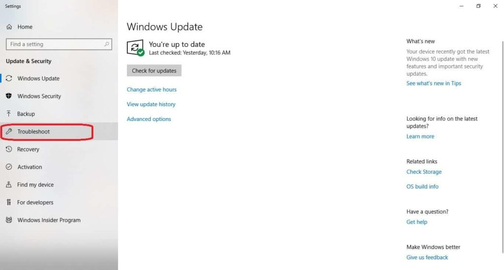 troubleshoot under windows update