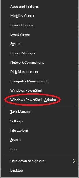 windows powershell (admin) on the menu