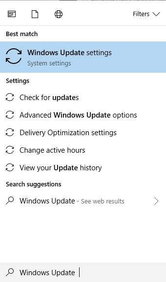 windows update settings in search bar