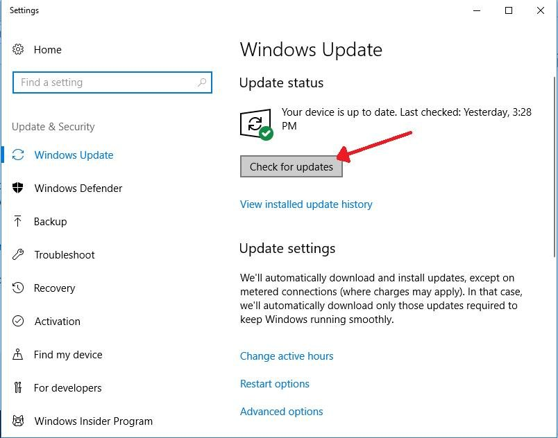 check for updates under windows update