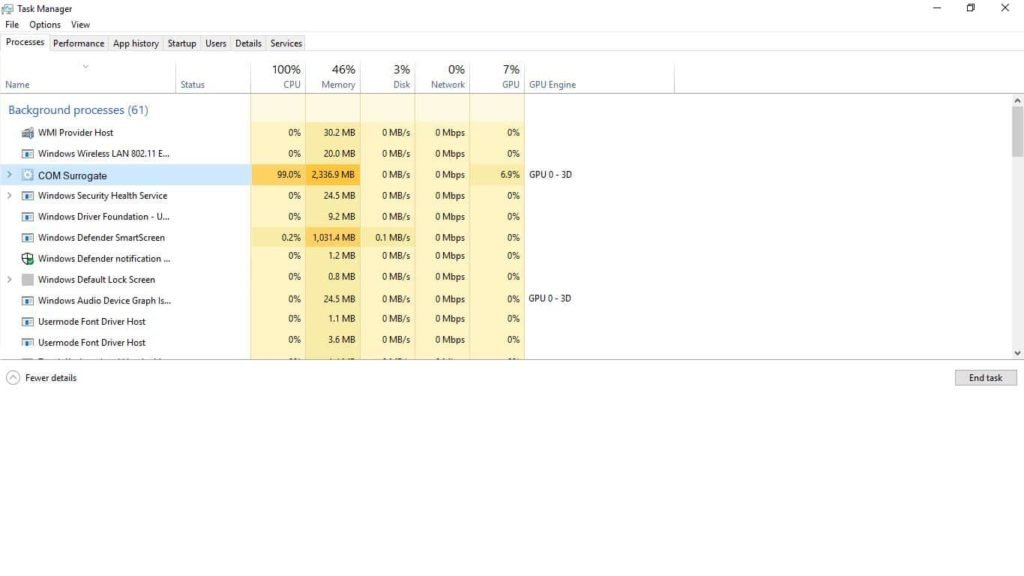 Com Surrogate on task manager