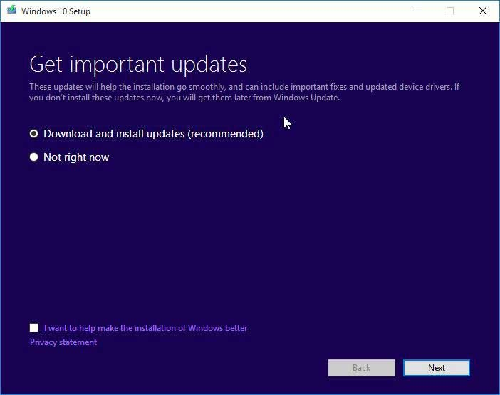 Windows 10 Installation Important updates
