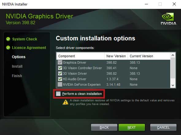 Nvidia-perform-clean-installation