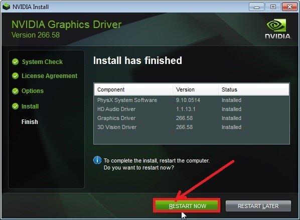 Nvidia click restart