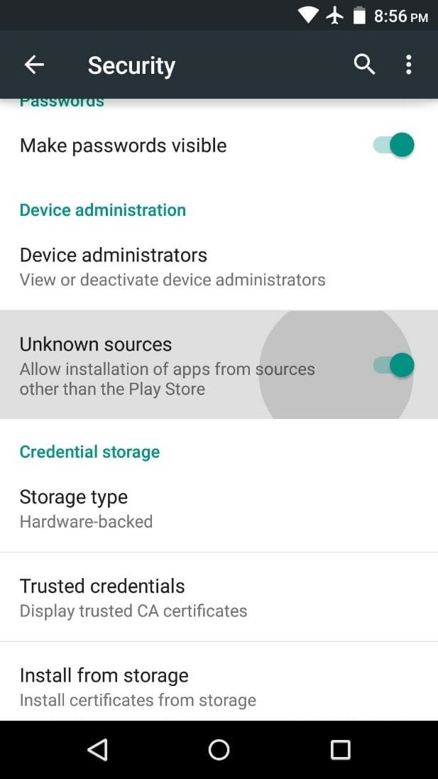 Navigate Security Settings