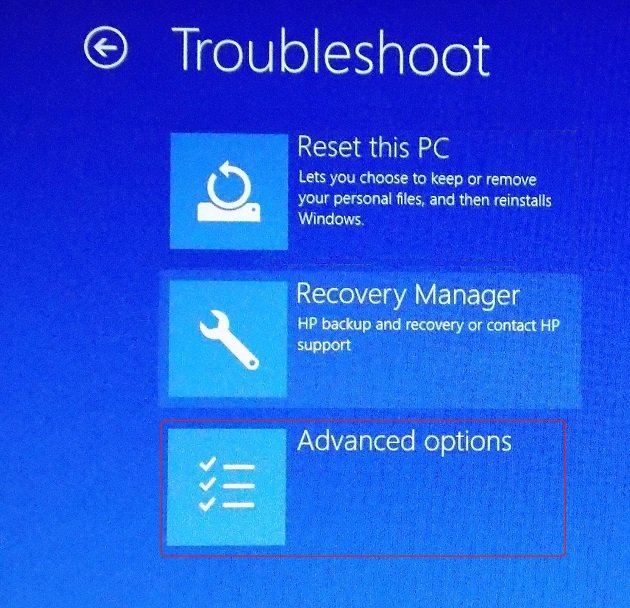 Navigate Troubleshoot - Advanced Options