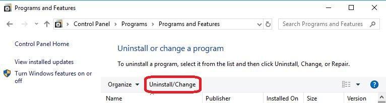 Uninstall-Change