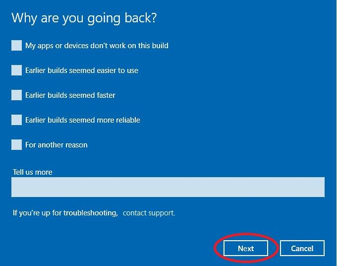 Navigate Windows Troubleshoot Survey