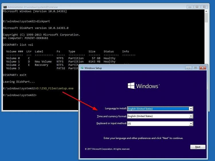 Windows 10 setup command prompt