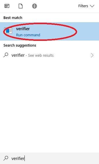 Search Windows verifier