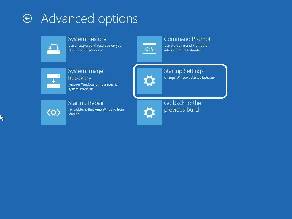 Navigate advanced options