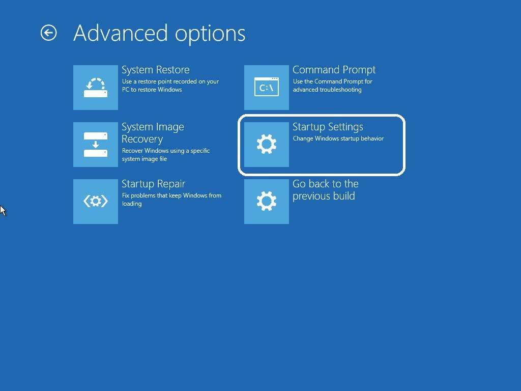 Navigate advanced options