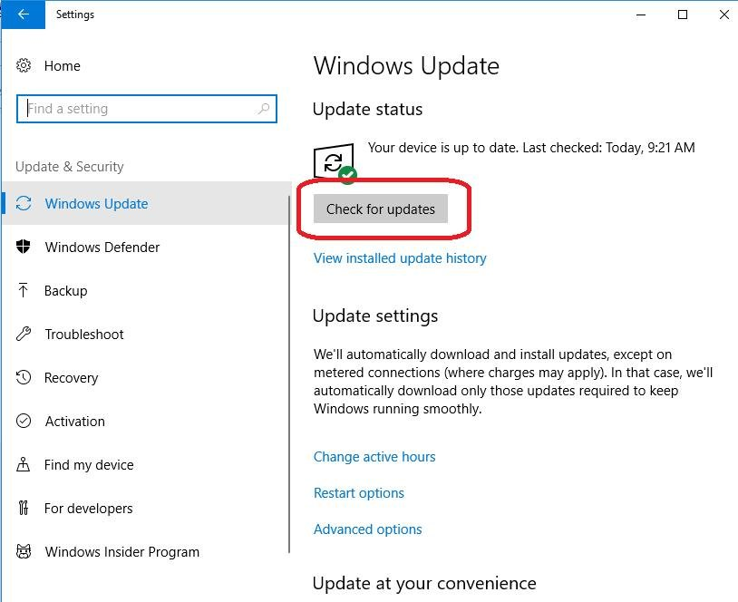 Check for updates in Windows Update