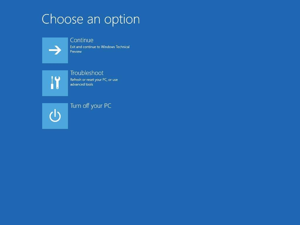 Windows 10 choose option