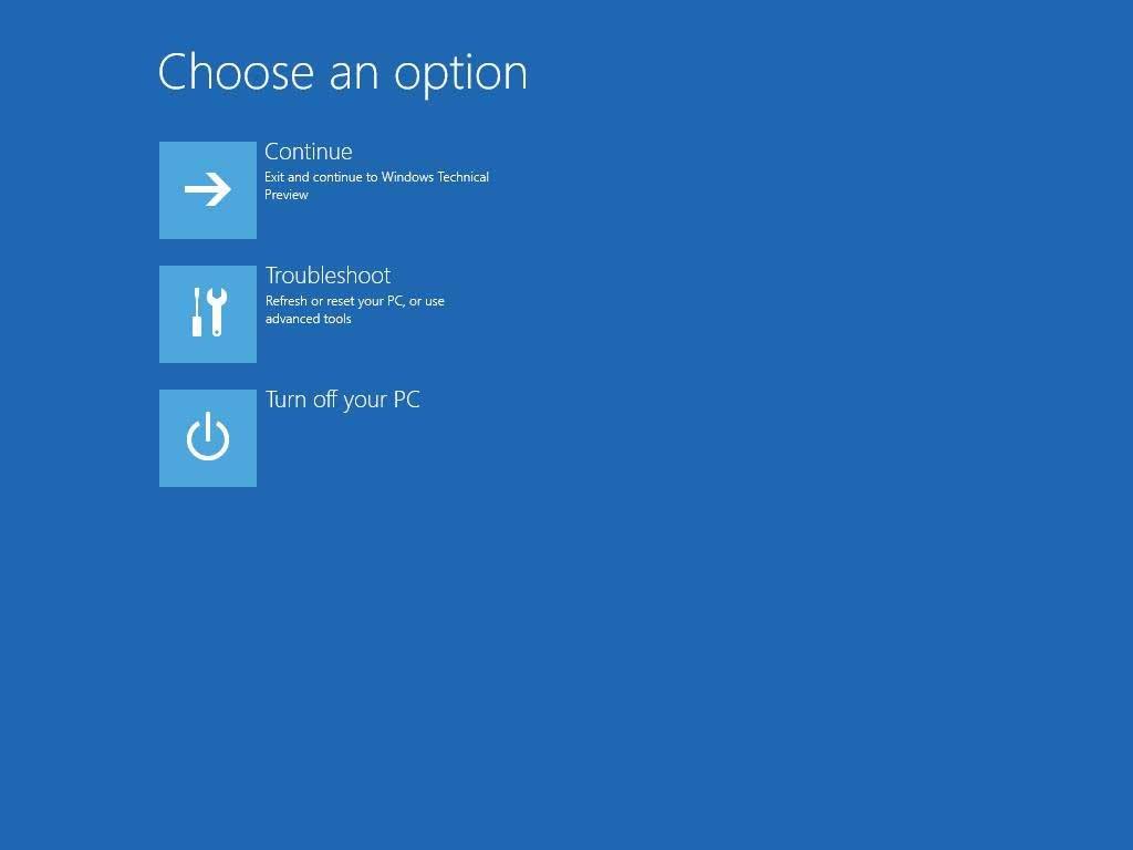 Windows 10 choose option