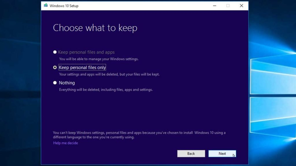 Windows 10 Choose what to keep settings