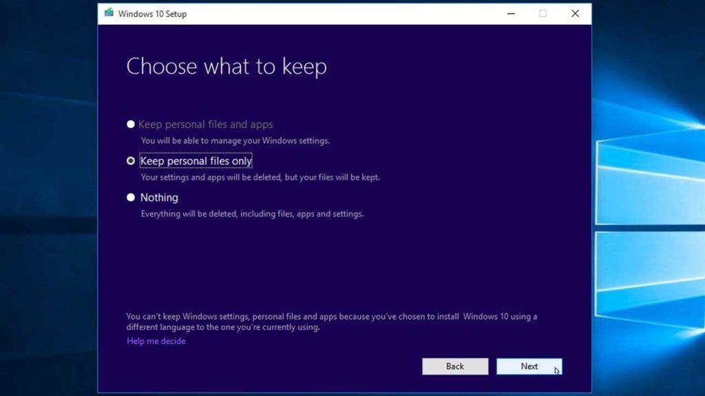 Windows 10 Choose what to keep settings