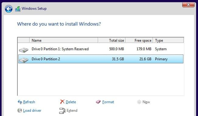 Windows setup disk partition