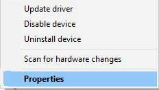 Navigate display adapter properties