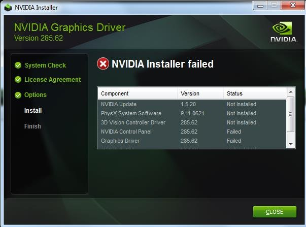 How to Fix the NVIDIA Installer Failed Error